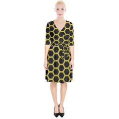 HEXAGON2 BLACK MARBLE & YELLOW LEATHER (R) Wrap Up Cocktail Dress