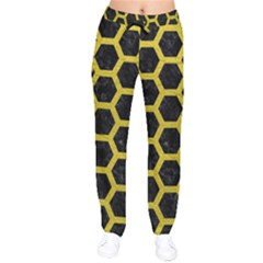 HEXAGON2 BLACK MARBLE & YELLOW LEATHER (R) Drawstring Pants