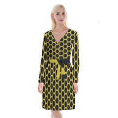 HEXAGON2 BLACK MARBLE & YELLOW LEATHER (R) Long Sleeve Velvet Front Wrap Dress