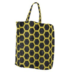 HEXAGON2 BLACK MARBLE & YELLOW LEATHER (R) Giant Grocery Zipper Tote