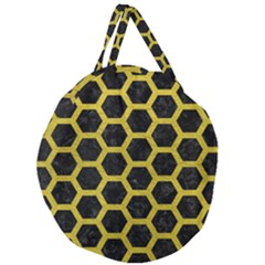 HEXAGON2 BLACK MARBLE & YELLOW LEATHER (R) Giant Round Zipper Tote