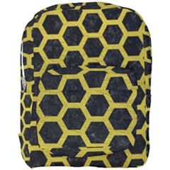 HEXAGON2 BLACK MARBLE & YELLOW LEATHER (R) Full Print Backpack