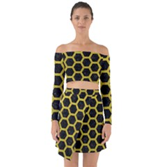 HEXAGON2 BLACK MARBLE & YELLOW LEATHER (R) Off Shoulder Top with Skirt Set