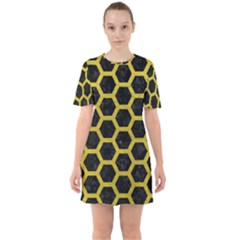 HEXAGON2 BLACK MARBLE & YELLOW LEATHER (R) Sixties Short Sleeve Mini Dress
