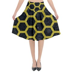 HEXAGON2 BLACK MARBLE & YELLOW LEATHER (R) Flared Midi Skirt