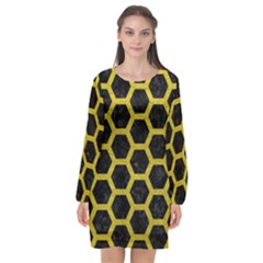 HEXAGON2 BLACK MARBLE & YELLOW LEATHER (R) Long Sleeve Chiffon Shift Dress