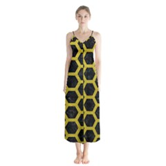 HEXAGON2 BLACK MARBLE & YELLOW LEATHER (R) Button Up Chiffon Maxi Dress