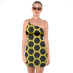 HEXAGON2 BLACK MARBLE & YELLOW LEATHER (R) One Soulder Bodycon Dress