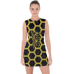 HEXAGON2 BLACK MARBLE & YELLOW LEATHER (R) Lace Up Front Bodycon Dress