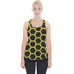HEXAGON2 BLACK MARBLE & YELLOW LEATHER (R) Piece Up Tank Top