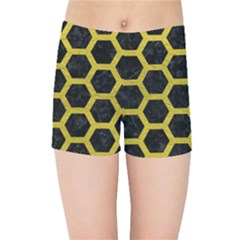 HEXAGON2 BLACK MARBLE & YELLOW LEATHER (R) Kids Sports Shorts