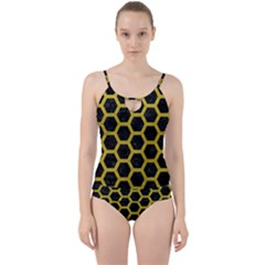 Hexagon2 Black Marble & Yellow Leather (r) Cut Out Top Tankini Set
