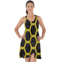 HEXAGON2 BLACK MARBLE & YELLOW LEATHER (R) Show Some Back Chiffon Dress