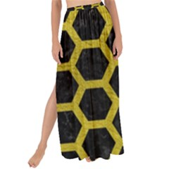 HEXAGON2 BLACK MARBLE & YELLOW LEATHER (R) Maxi Chiffon Tie-Up Sarong