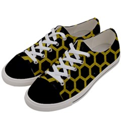 HEXAGON2 BLACK MARBLE & YELLOW LEATHER (R) Women s Low Top Canvas Sneakers