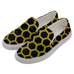 HEXAGON2 BLACK MARBLE & YELLOW LEATHER (R) Men s Canvas Slip Ons