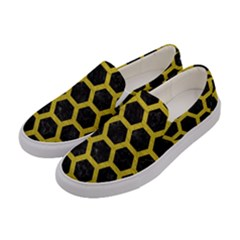 HEXAGON2 BLACK MARBLE & YELLOW LEATHER (R) Women s Canvas Slip Ons