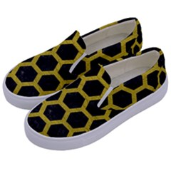 HEXAGON2 BLACK MARBLE & YELLOW LEATHER (R) Kids  Canvas Slip Ons