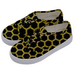 HEXAGON2 BLACK MARBLE & YELLOW LEATHER (R) Kids  Classic Low Top Sneakers