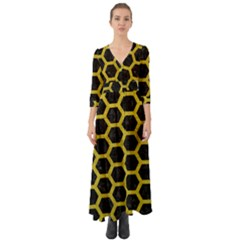 HEXAGON2 BLACK MARBLE & YELLOW LEATHER (R) Button Up Boho Maxi Dress