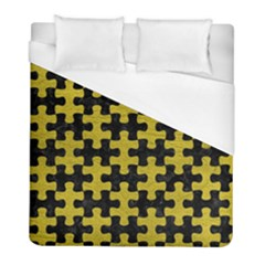 Puzzle1 Black Marble & Yellow Leather Duvet Cover (full/ Double Size) by trendistuff