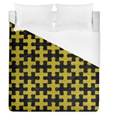 Puzzle1 Black Marble & Yellow Leather Duvet Cover (queen Size)