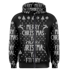 Ugly Christmas Sweater Men s Zipper Hoodie by Valentinaart