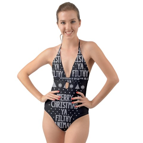 Christmas One Piece Swimsuit.Ugly Christmas Sweater Halter Cut Out One Piece Swimsuit
