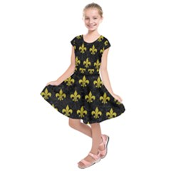 Royal1 Black Marble & Yellow Leather Kids  Short Sleeve Dress by trendistuff