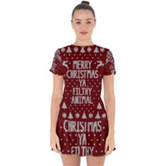 Ugly Christmas Sweater Drop Hem Mini Chiffon Dress