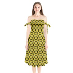 Scales1 Black Marble & Yellow Leather Shoulder Tie Bardot Midi Dress by trendistuff