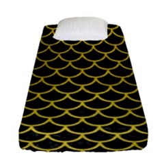 Scales1 Black Marble & Yellow Leather (r) Fitted Sheet (single Size) by trendistuff