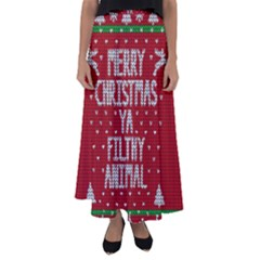 Ugly Christmas Sweater Flared Maxi Skirt by Valentinaart