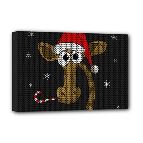 Christmas Giraffe  Deluxe Canvas 18  X 12   by Valentinaart