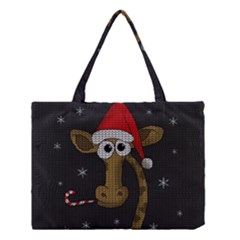Christmas Giraffe  Medium Tote Bag by Valentinaart