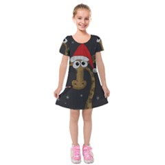 Christmas Giraffe  Kids  Short Sleeve Velvet Dress by Valentinaart
