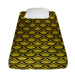 Scales2 Black Marble & Yellow Leather Fitted Sheet (single Size) by trendistuff