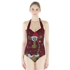 Christmas Giraffe  Halter Swimsuit by Valentinaart