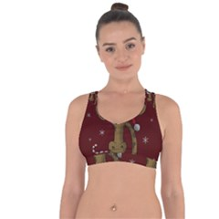 Christmas Giraffe  Cross String Back Sports Bra