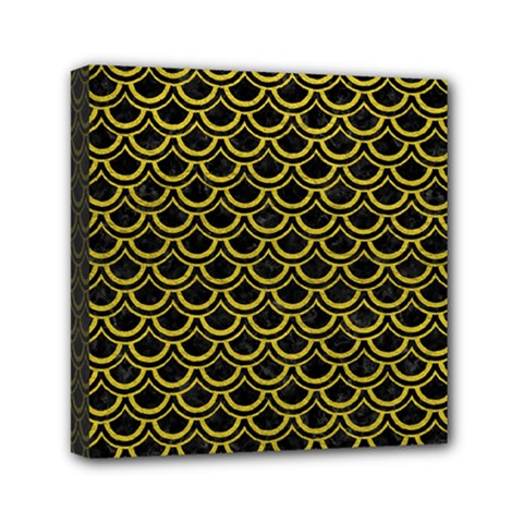 Scales2 Black Marble & Yellow Leather (r) Mini Canvas 6  X 6  by trendistuff