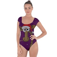 Christmas Giraffe  Short Sleeve Leotard