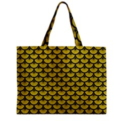 Scales3 Black Marble & Yellow Leather Zipper Mini Tote Bag by trendistuff