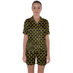 Scales3 Black Marble & Yellow Leather (r) Satin Short Sleeve Pyjamas Set by trendistuff