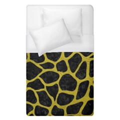 Skin1 Black Marble & Yellow Leather Duvet Cover (single Size) by trendistuff