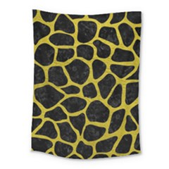 Skin1 Black Marble & Yellow Leather Medium Tapestry by trendistuff