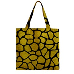 Skin1 Black Marble & Yellow Leather (r) Zipper Grocery Tote Bag by trendistuff