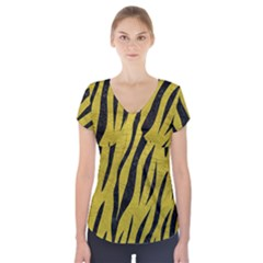 Skin3 Black Marble & Yellow Leather Short Sleeve Front Detail Top
