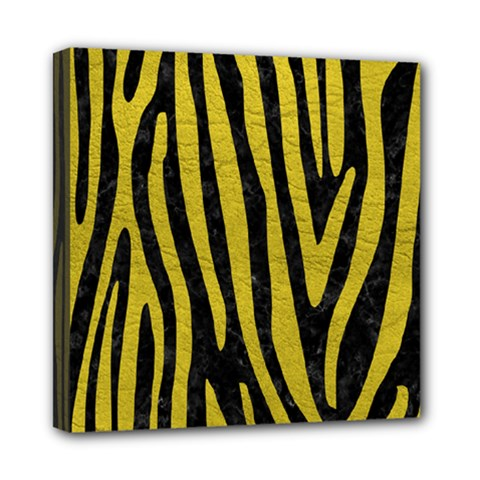 Skin4 Black Marble & Yellow Leather Mini Canvas 8  X 8  by trendistuff