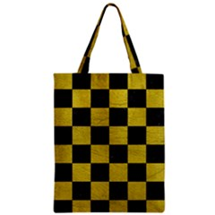 Square1 Black Marble & Yellow Leather Zipper Classic Tote Bag by trendistuff