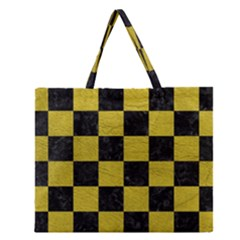 Square1 Black Marble & Yellow Leather Zipper Large Tote Bag by trendistuff